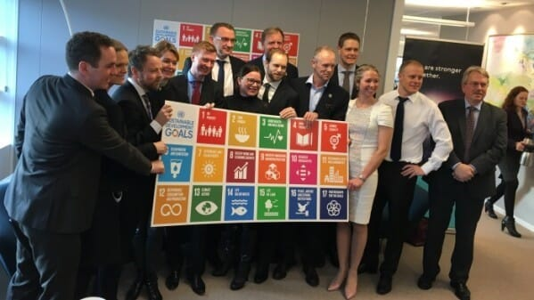 Ocean Action Platform was launched at Cermaq's head office. Norway's Minister of Trade and Industry Torbjørn Røe Isakasen is third from left.