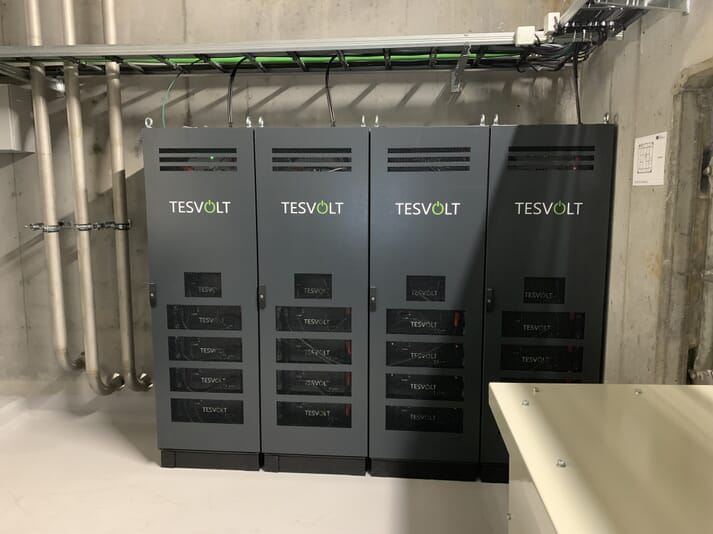 The energy storage system, developed by Tesvolt, has a total storage capacity of 158 kilowatt hours (kWh)