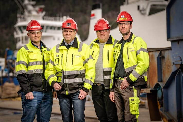 The project team, from left: Process Manager Jan Andre Førde Systad, Havyard Ship Technology, Project Manager Svein Frode Eggesbø, Havyard Ship Technology, Executive Vice President Lasse Stokkeland, Havyard Ship Technology and Process Manager, Production Håkon Bosdal, Havyard Ship Technology