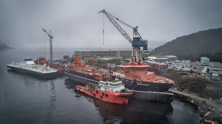 The hull arrived at Havyard's shipyard in Leirvick