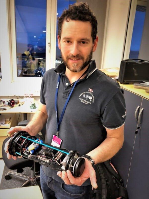 Researcher Walter Caharija with the sensor fish