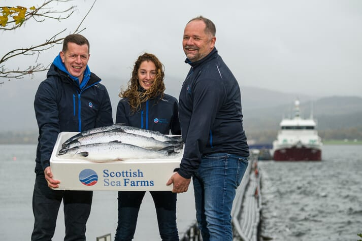 Scottish Sea Farms' Pål Tangvik, Jim Gallagher and Noelia Rodriguez with first RAS-grown fish to be harvested