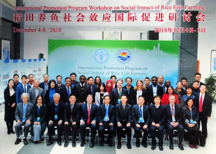 Delegates at a workshop on the socio-economic impact of rice-fish culture, which was held at Shanghai Ocean University