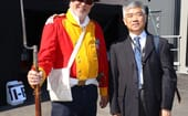 Professor Wang, of the Yellow Sea Research Institute, with one of the ceremonial guards at the event thumbnail