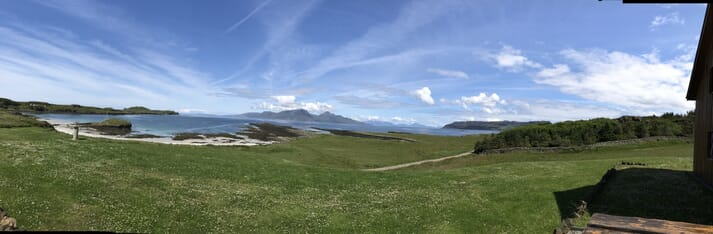 The view from Galllanch Lodge, on the Isle of Muck.
