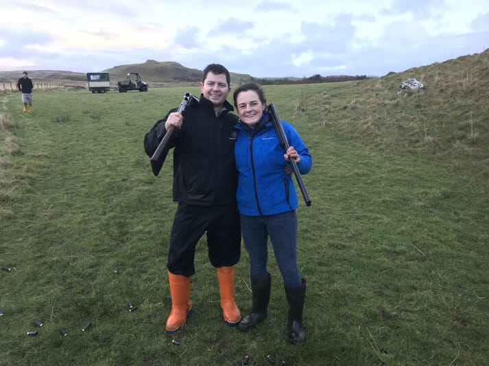 Clara took part in a clay pigeon shoot on Muck - where field sports provide many jobs - over Christmas