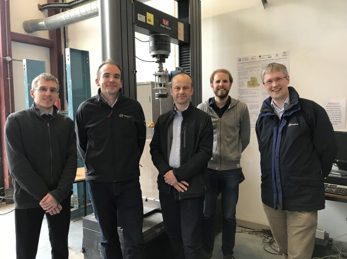 The rock anchor development team includes (left to right) Adam Caton (SME), Jamie Young (Gaelforce), Andy Hunt (SME), Benjamin Cerfontaine and Jonathan Knappett (both University of Dundee)