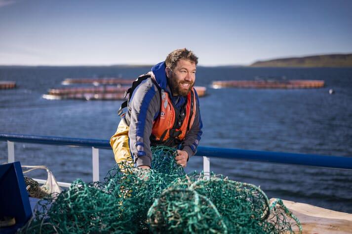 A salmon farmer in Orkney