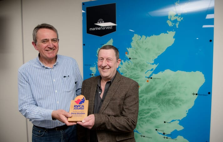 Steve Bracken receives the award from Malcolm Johnstone, Aquaculture Manager at RSPCA assured