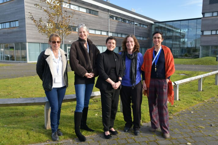 L-R, Rowena Hoare, Senior Researcher, Institute of Aquaculture, Stirling University; Sophie Fridman, Senior Researcher, Institute of Aquaculture, Stirling University; Mairi Gougeon, Minister for Rural Affairs and the Natural Environment; Mary Fraser, Head of Skills and Talent at SAIC; Teresa Garzon, Key Account Manager, Patogen
