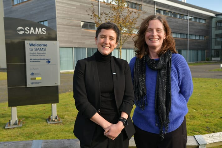 L-R, Mairi Gougeon, Minister for Rural Affairs and the Natural Environment; Mary Fraser, Head of Skills and Talent at SAIC (Scottish Aquaculture Innovation Centre)