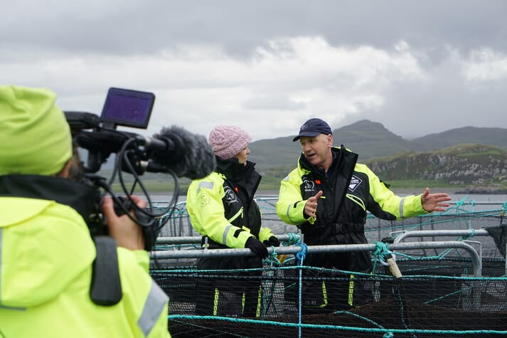 David Robinson and Cherry Healey at Wester Ross Salmon's Ardmair farm