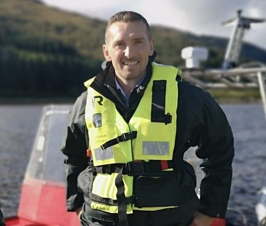 James Park, head of insights for the Scottish Salmon Producers Organisation, pictured aboard a fish farm boat