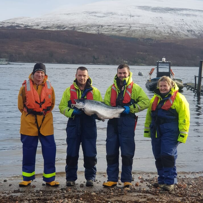 Some of the staff from Mowi's Loch Linnhe salmon sites