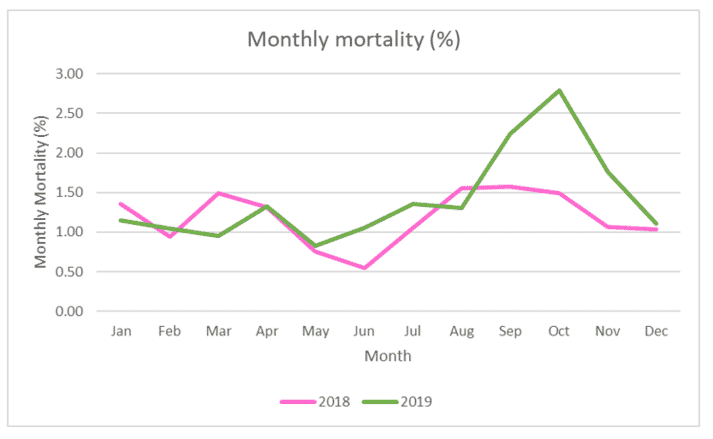 Monthly salmon mortality rates in Scotland, 2018 and 2019