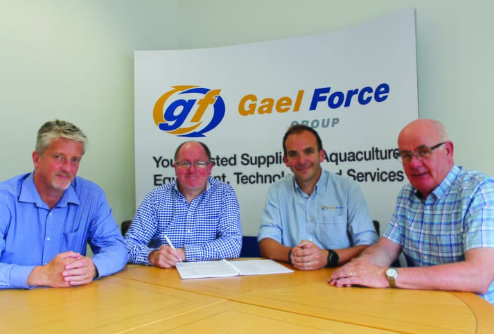 Left to right: Robert Gray (director, Organic Sea Harvest) Alex MacInnes (director, Organic Sea Harvest), Jamie Young (sales director, Gael Force Group), Alister Mackinnon (director, Organic Sea Harvest).