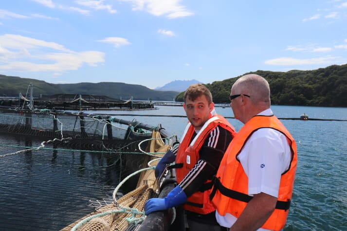 Kurk Jones, site manager at Portnalong and one of the rising stars of Scotland's salmon industry, is impressed with the impact of the nets so far
