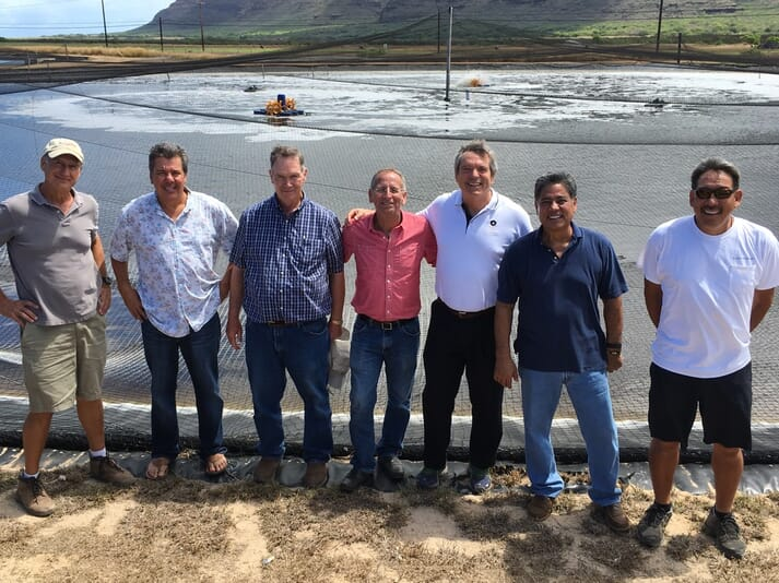 George Chamberlain (third from right) with the team at Kona Bay Shrimp, in Hawaii