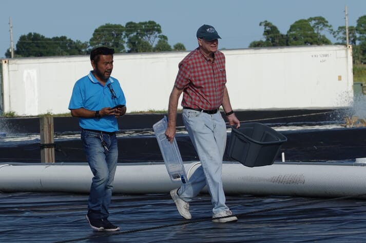Robins McIntosh (right) visiting the Florida site