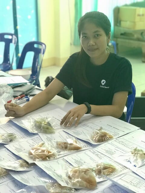 PCR sampling at the Fish Vet Group lab in Chonburi, Thailand