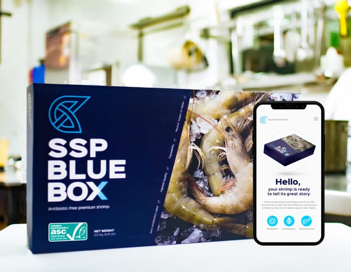 The Sustainable Shrimp Partnership's first batches of shrimp containing a QR code, enabled by adopting blockchain, were launched in November 2020