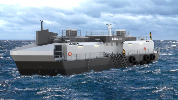 """The """"waterborne"""" feed dleivery system has been fitted onto an Akva AC600 feed barge, but exisiting barges could also be adapted to house the system"""