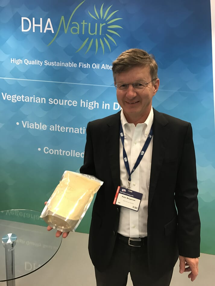 Peter Bergstrom, international business manager for ADM Animal Nutrition, with a bag of DHA Natur