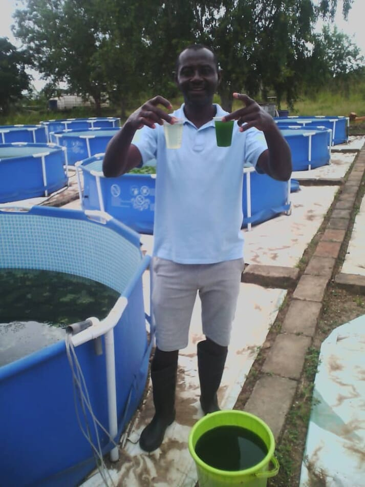The concentrated algal solution is sold to terrestrial farmers for 10 US cents a litre