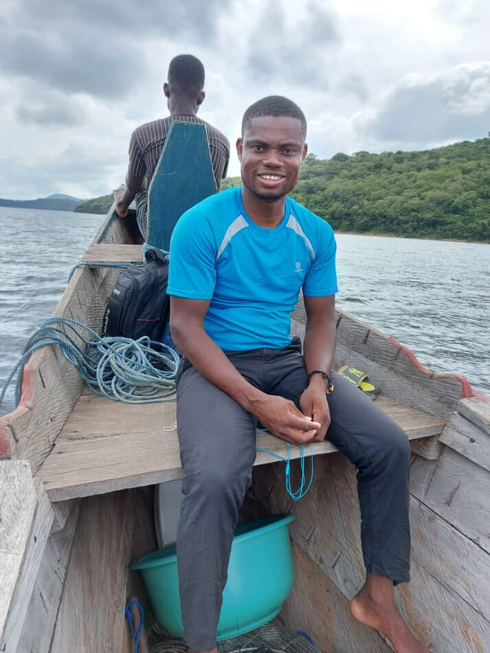 Emmanuel Dery manages Vision 2000's farming operation on Lake Volta, in Ghana
