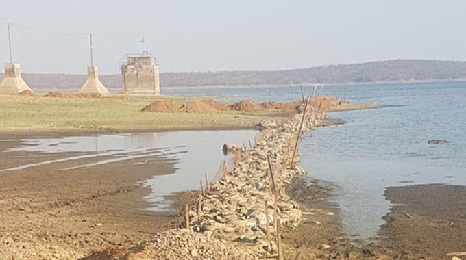 The drop in water levels has left pump houses exposed and forced farmers to pump water longer distances for their hatcheries
