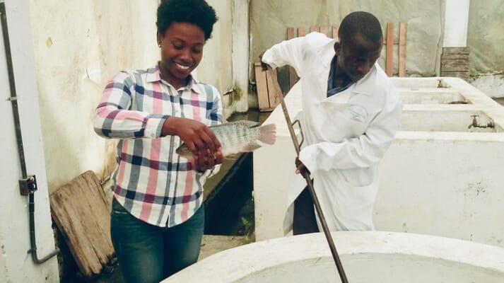 Margaret Gatonye at a tilapia hatchery in Kenya
