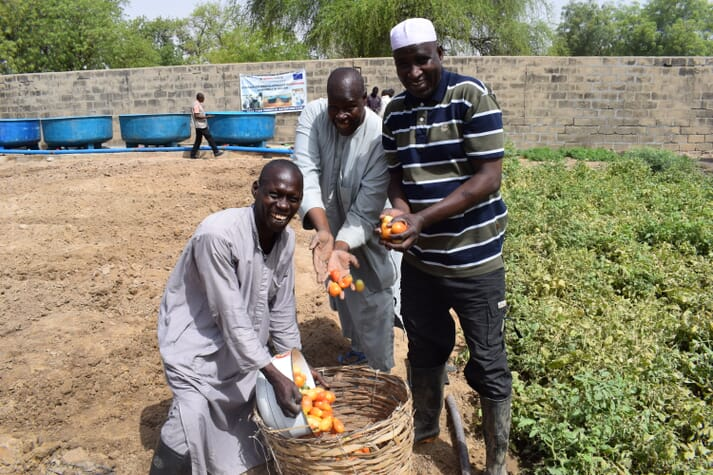 The FAO has employed an approach that allows beneficiaries to use wastewater from fish tanks to grow crops. The goal is to ensure sustainable use of water