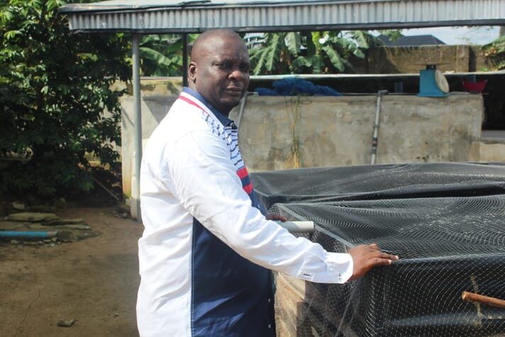 Noel Nduka, chairperson and CEO of Pivot Farms, uses solar power to pump the water round his catfish ponds