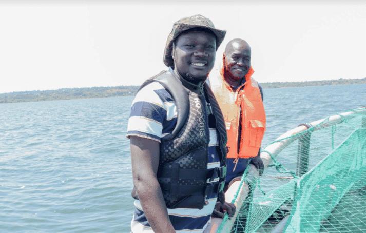 Dave Okech, the founder Aquarech, at a tilapia farm on Lake Victoria