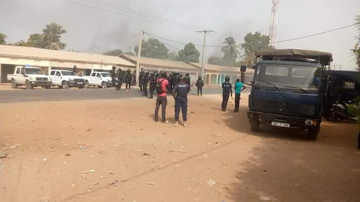 Sanyang's police station was torched, as well as the Nessim fishmeal factory