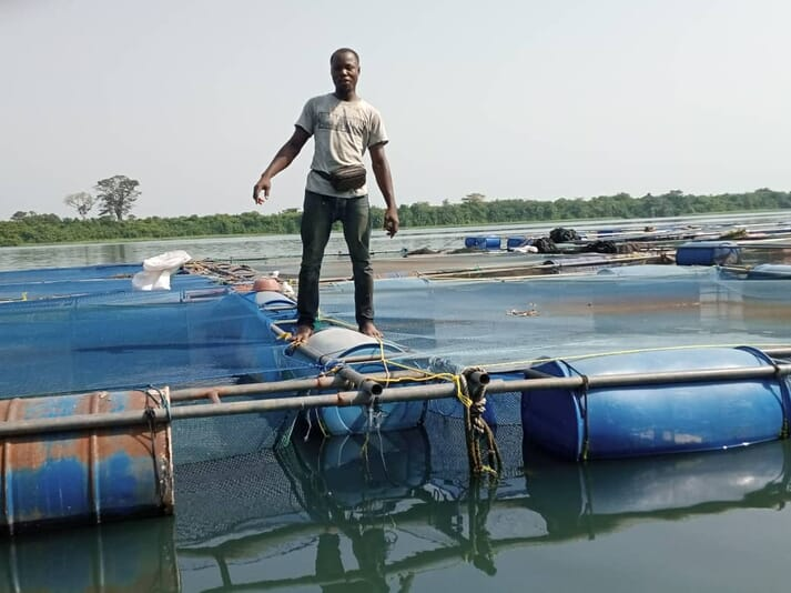 Enoch Tetteh currently has 30 tilapia cages on Lake Volta, but would like to expand to at least 100