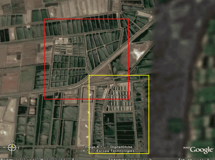 Farm site layout in 1991 (red) with expansion carried out by Ismail in 1998 when he took over ownership of the original site (yellow)
