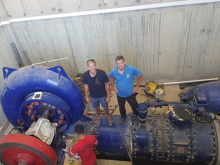 Adriaan Hanekom, group engineering manager for Aqunion (left) and Gareth Martinengo, owner of Gamco marine engineering services, during the installation of the hydroturbine at Aqunion Romansbaai