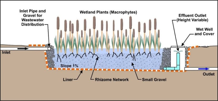 Schematic of a subsurface flow constructed wetland (click on image to enlarge)