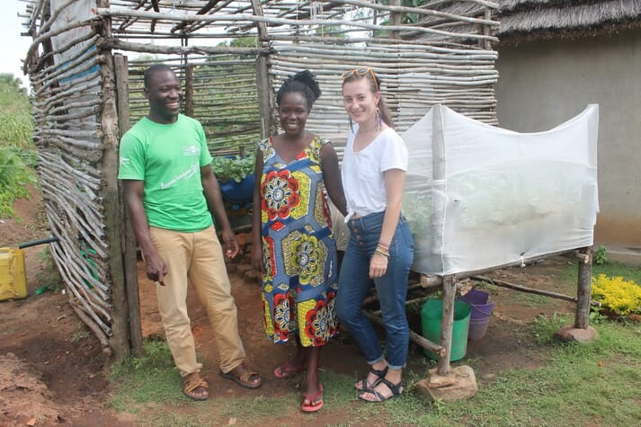 Kareo Clara (centre) with her husband Stephanie Moscheines, programme manager with Dexis consulting group, who are assessing the project