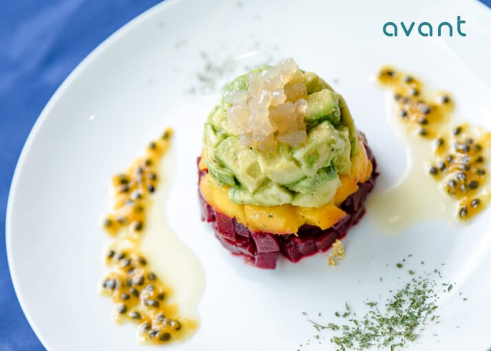 Fruit tartare topped with Avant's cultivated fish maw