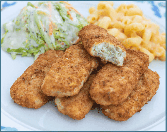 breaded fish sticks on a plate