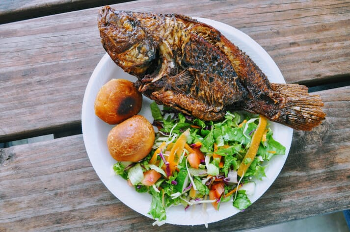The finished products: tilapia and greens grown in an aquaponics system