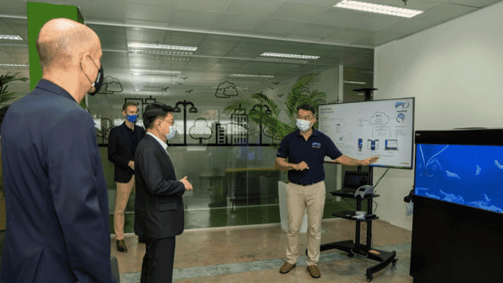 Mr Heng Swee Keat being introduced to AquaEasy, the first Bosch's spin-off venture under grow ASEAN, which secured funding from Bosch and EDB New Ventures