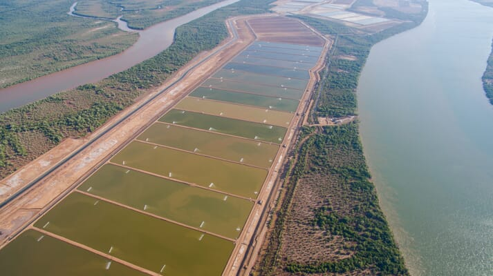 aerial view of a shrimp farm next to canals and rivers