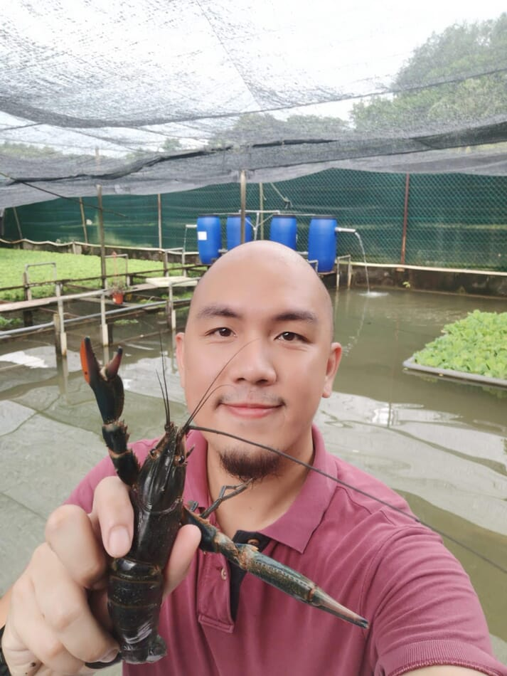 Desmond Chow, founder of Asian Crawfish, at the company's farm in Singapore