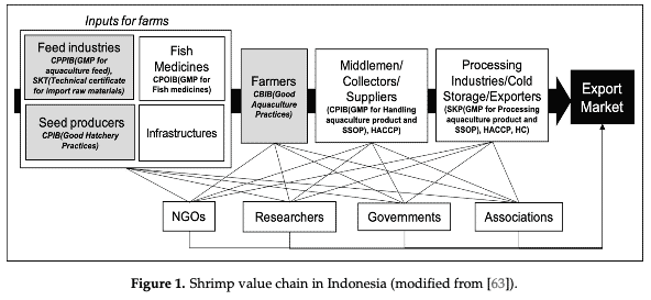 Figure 1. The Indonesian shrimp value chain (click on the image for a larger view)
