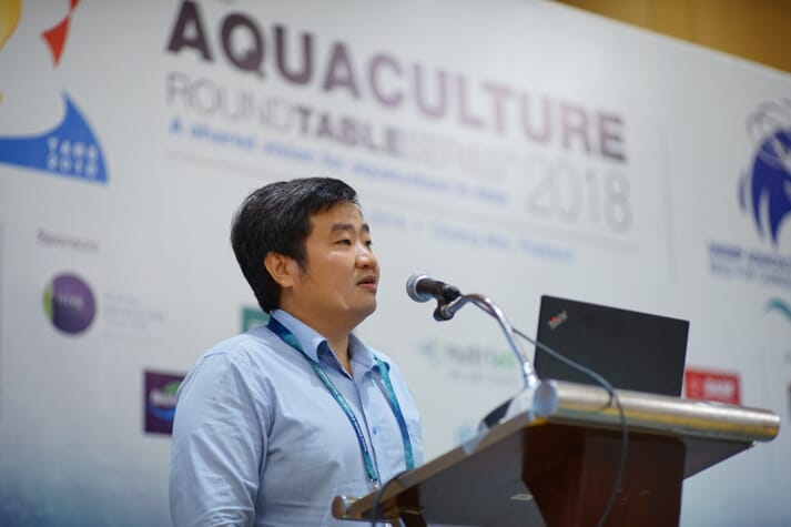 Loc speaking about shrimp farming at the recent Aquaculture Round Table Series