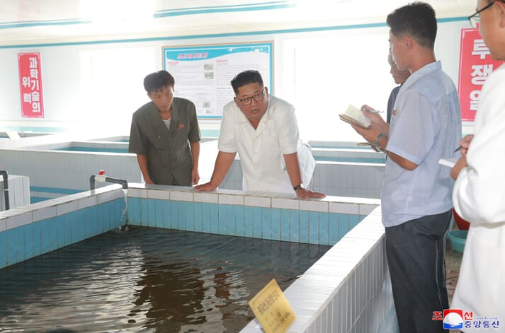The Supreme Leader, Kim Jong Un, visited the Yonphungho Fish Stocking Station last year