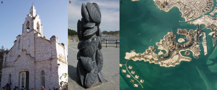 Examples of shellfish used in spiritual, emblematic or cultural contexts. (a) The shell church, covered in scallop shells at La Toja, Spain; (b) Sculpture of mussels in the mussel producing town of Conwy, Wales, UK; (c) Coastal development designed in the shape of an oyster: The Pearl, Qatar.